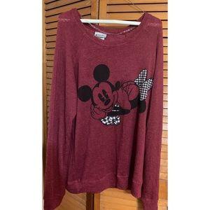 Disney Parks Mickey and Minnie Maroon Sweater